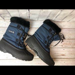 Kamik women's black blue faux fur snow rain boots